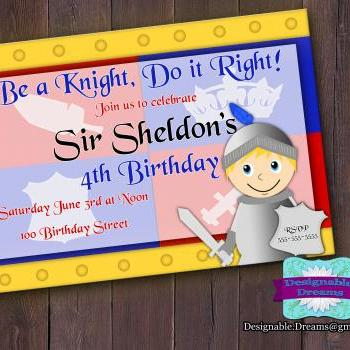 Be a Knight Birthday Invitation